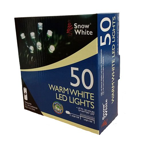 Warm White Battery Operated LED Fairy Lights - Set of 50 - 5.2m