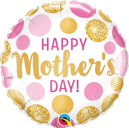 Mother's Day Pink and Gold Dots Foil Balloon - 18""
