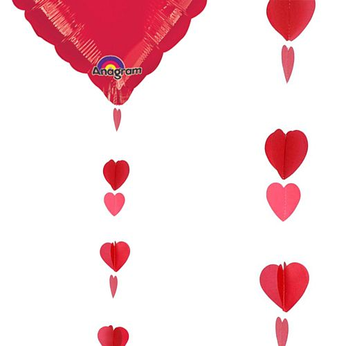 Red & White Heart Balloon Tail - 1.2m