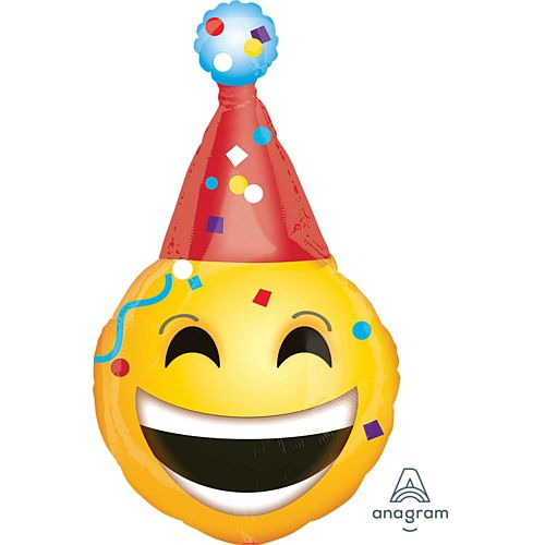 Emoticon Party Hat Supershape Foil Balloon