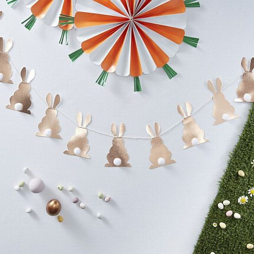 Rose Gold Pom Pom Bunny Tail Bunting - Hoppy Easter - 2m