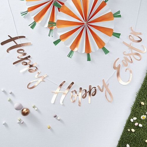 Rose Gold Happy Easter Letter Banner - Hoppy Easter - 1.5m
