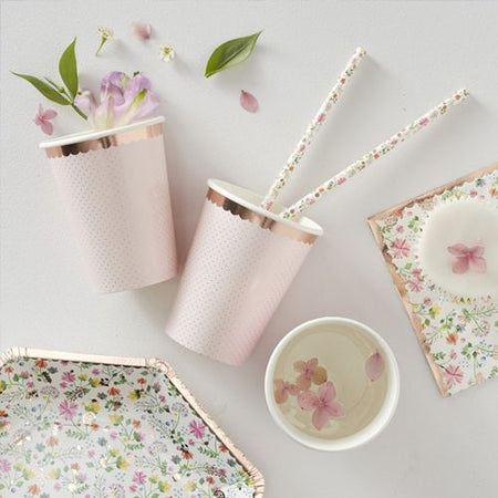 Rose Gold Foiled Polka Dot Paper Cups - Ditsy Floral - Pack of 8