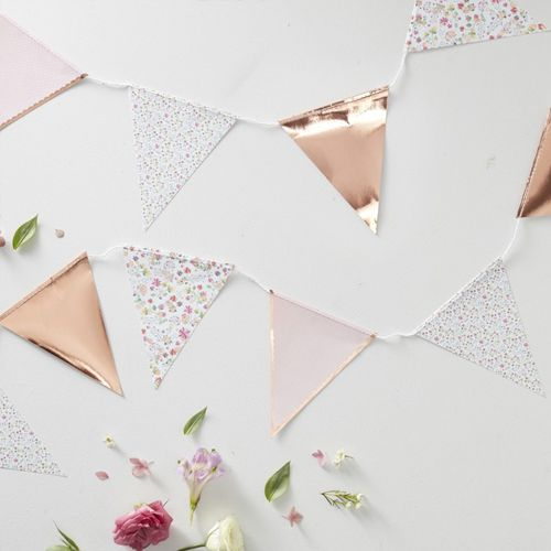 Rose Gold Foiled Floral Print Bunting - Ditsy Floral - 3.5m