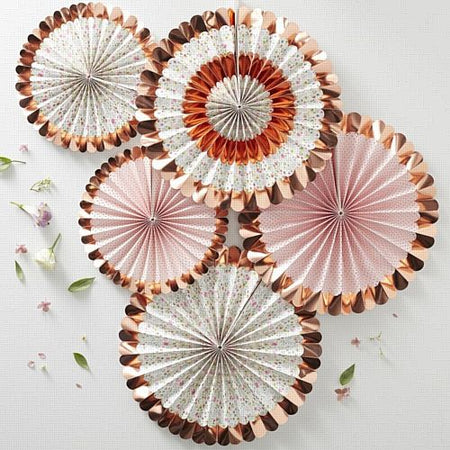 Rose Gold Foiled Floral Fan Decorations - Ditsy Floral - Pack of 5