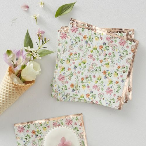 Rose Gold Foiled Floral Paper Napkins - Ditsy Floral - Pack of 16