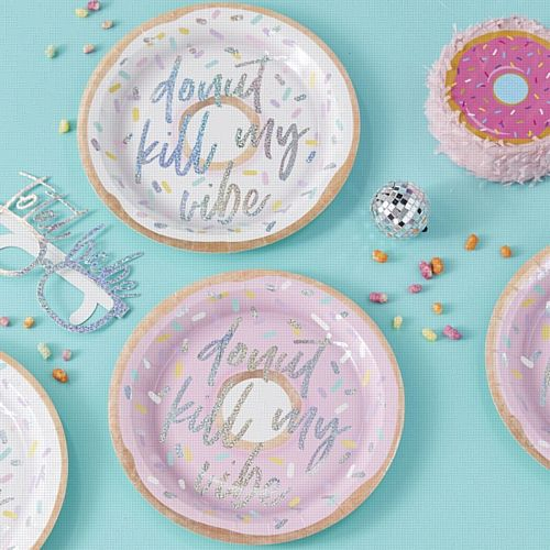 Iridescent Foiled Donut Kill My Vibe Paper Plates - Good Vibes - 25cm - Pack of 8