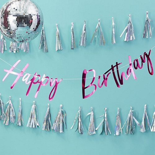 Hot Pink Foiled 'Happy Birthday' Bunting - Good Vibes - 2m