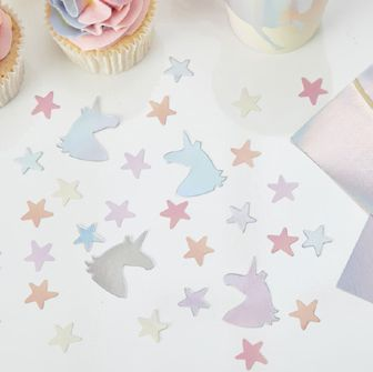 Click to view product details and reviews for Iridescent Foiled Unicorn And Star Confetti Make A Wish 14g.