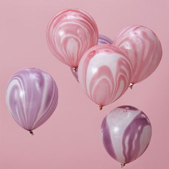 Pink And Purple Marble Balloons - Make A Wish - Pack of 10