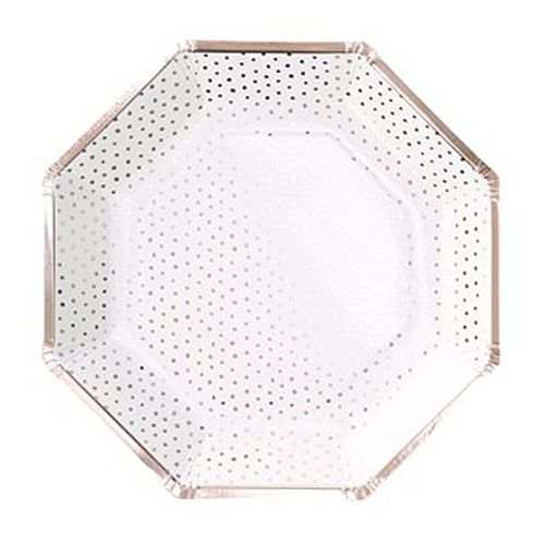 Rose Gold Foiled Spotty Paper Plates - 25cm - Pack of 8