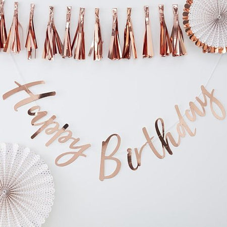 Rose Gold Happy Birthday Bunting - 1.5m