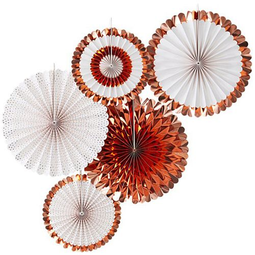 Rose Gold Fan Decorations - Pack of 5