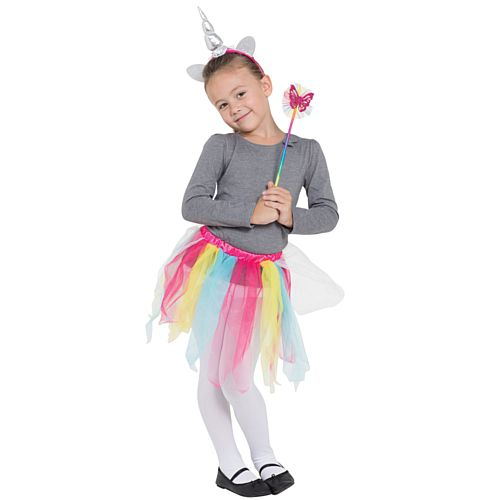 Children's Rainbow Unicorn Set - Tutu, Headband and Wand