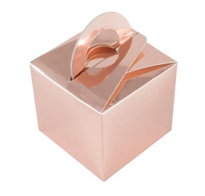 Metallic Rose Gold Favour Box - 6.5cm - Each