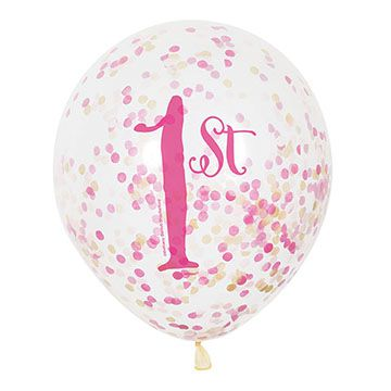 First Birthday Clear Balloons with Confetti - Pink - 30cm - Pack of 6