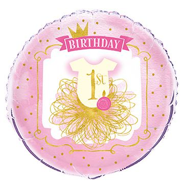 Pink and Gold First Birthday Foil Balloon - 46cm
