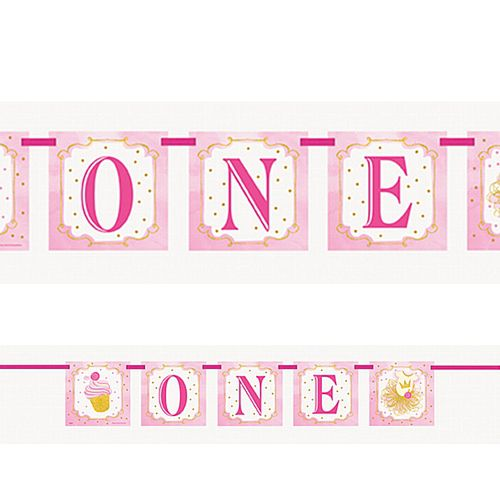 Pink and Gold First Birthday Bunting - 1.2m
