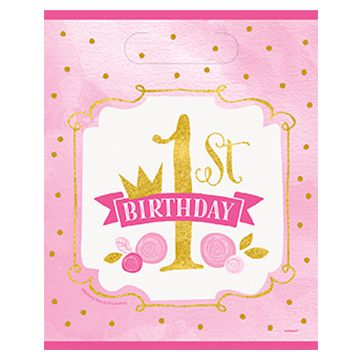 Pink and Gold First Birthday Party Bags - Pack of 8