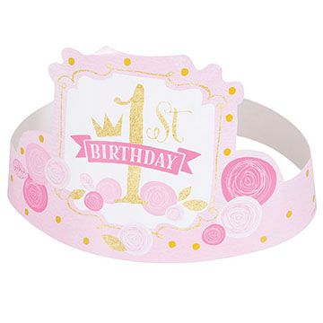 Pink and Gold First Birthday Party Hats - Pack of 6