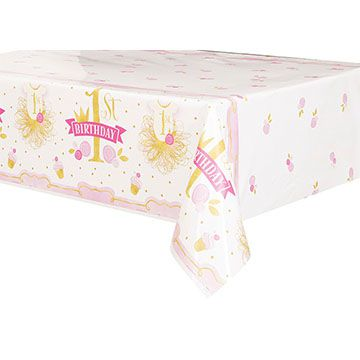 Pink and Gold First Birthday Plastic Tablecloth - 1.37m x 2.13m