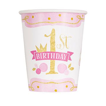 Pink and Gold First Birthday Cups - 256ml - Pack of 8