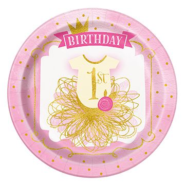 Pink and Gold First Birthday Plates - 23cm - Pack of 8