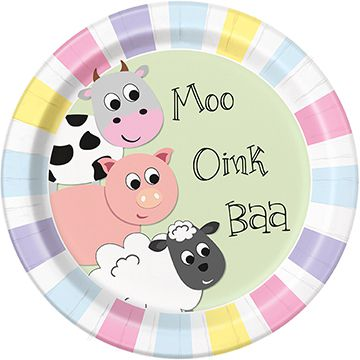 Farmyard Party Plates 23cm Pack Of 8