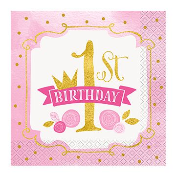 Pink and Gold First Birthday Napkins - 17cm - Pack of 16