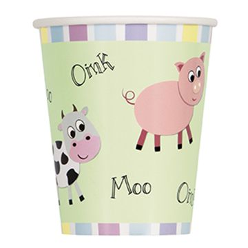 Farmyard Party - 256ml Cups - Pack of 8