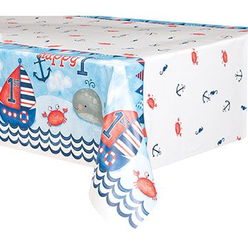 Nautical First Birthday Tablecloth - 137cm x 213cm