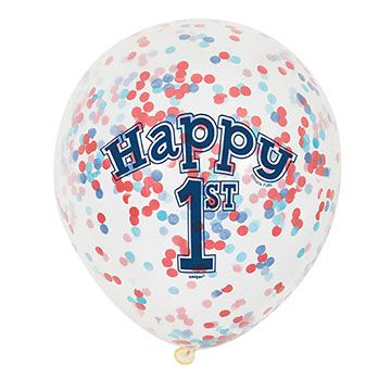 First Birthday Clear Balloons with Confetti - Red and Blue - 30cm - Pack of 6