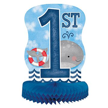 Nautical First Birthday Honeycomb Centrepiece - 36cm