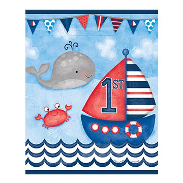 Nautical First Birthday Party Bags - Pack of 8