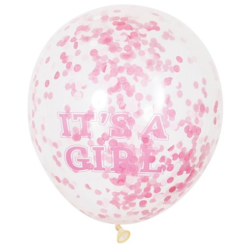 "It's A Girl Confetti Balloons - 12"" - Pack of 6"
