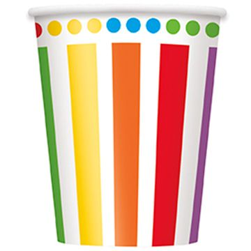 Rainbow Birthday Cups - 256ml - Pack of 8
