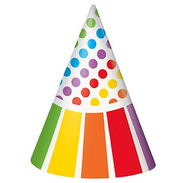 Rainbow Birthday Party Hats - Pack of 8