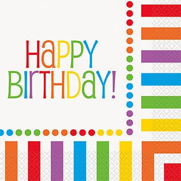 Rainbow Birthday Lunch Napkins with 'Happy Birthday' Message - Pack of 16