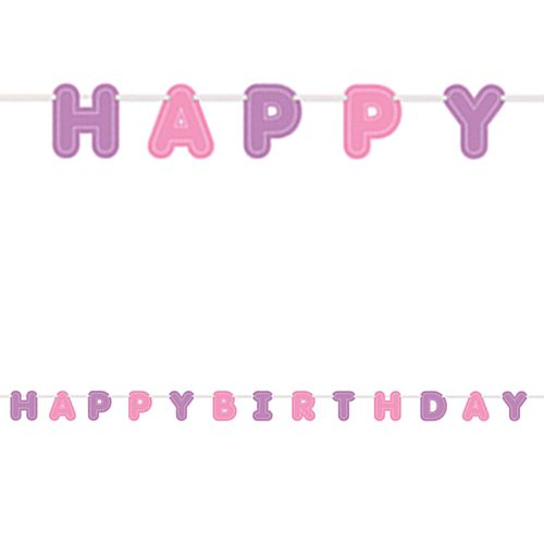 Pink and Purple 'Happy Birthday' Letter Banner - 2.7m