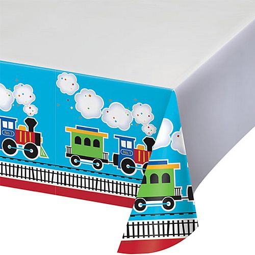 Toy Train Plastic Tablecloth - 137cm x 213cm