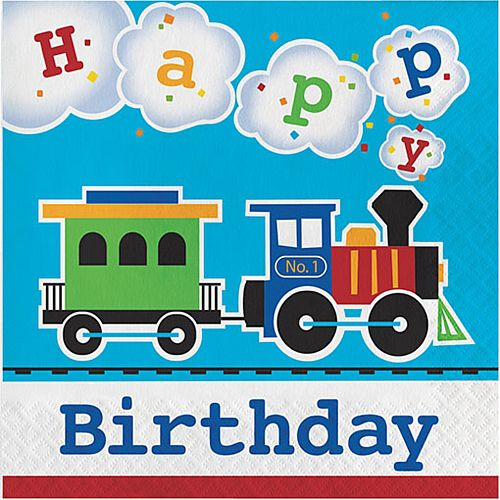 Toy Train Napkins with 'Happy Birthday' - 33cm - Pack of 16