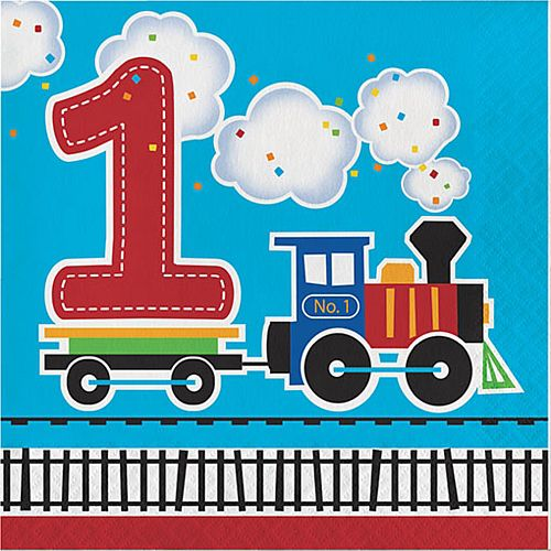 Toy Train First Birthday Napkin - 33cm - Pack of 16