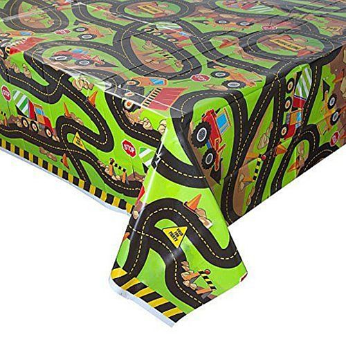 Trucks and Diggers Plastic Tablecloth - 137cm x 213cm