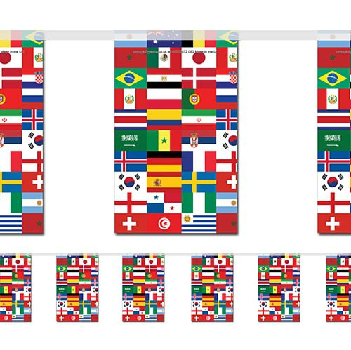International Multi Country Small Flag Indoor Bunting - 2.4m