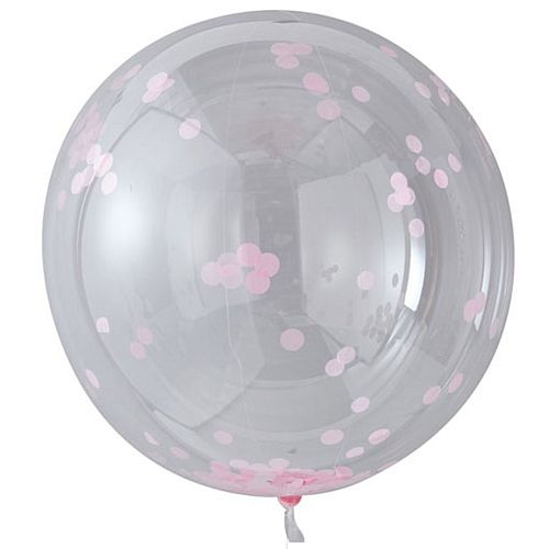 Large Orb Balloons with Pink Confetti - 91cm - Pack of 3