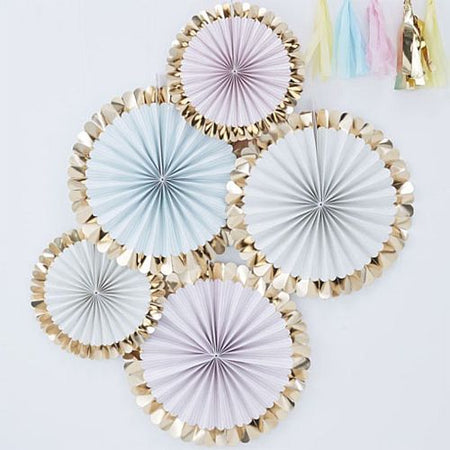 Pastel and Gold Foil Fan Decorations - Pack of 5