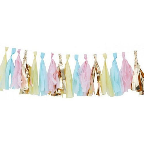 Pastel and Gold Tassel Garland - 16 Tassels