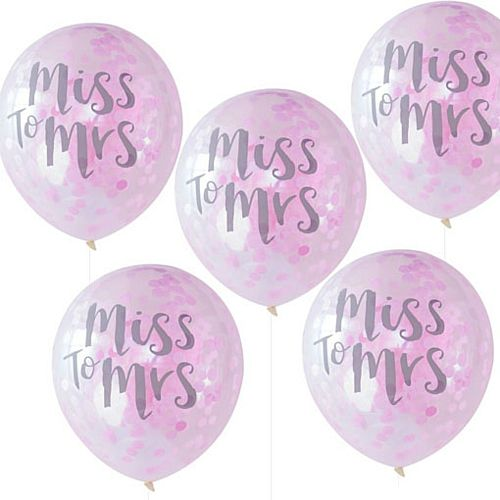 Team Bride Miss to Mrs Balloons with Pink Confetti - 30cm - Pack of 5