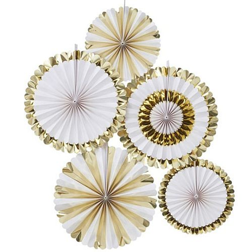 Gold & White Fan Decorations - Pack of 5