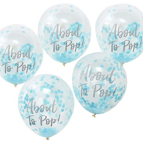 "About to Pop Balloons with Blue Confetti - 11"" - Pack of 5"